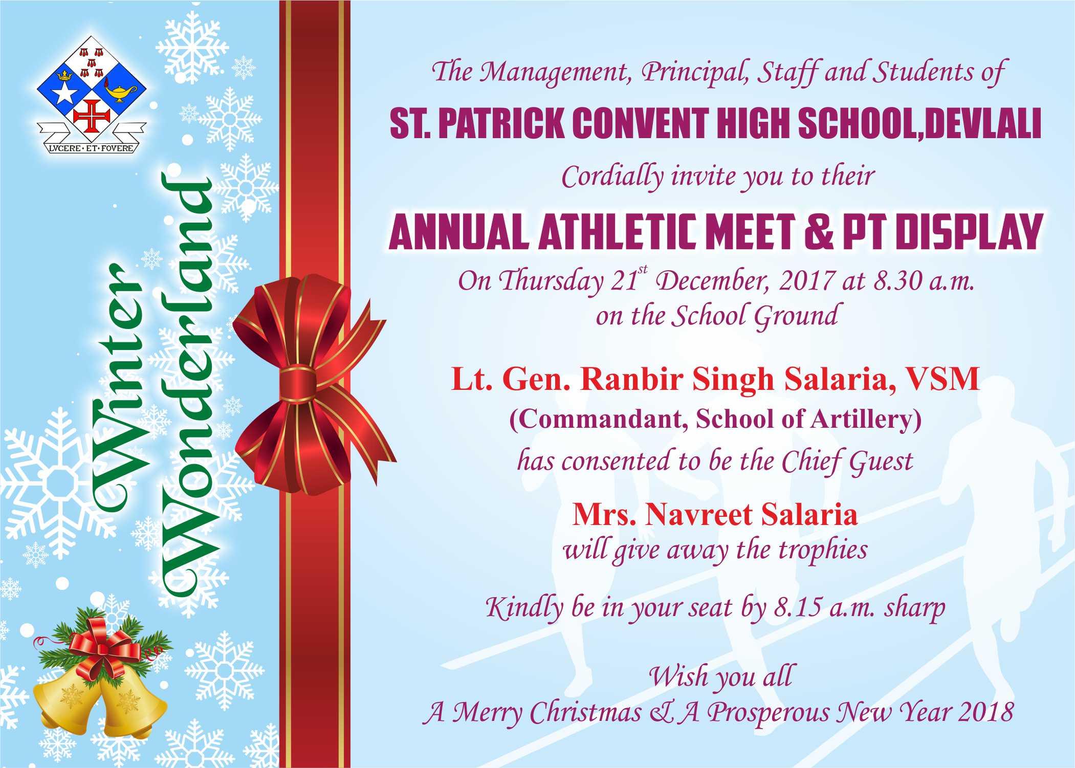 Invitation card St Patrick Convent High School Devlali